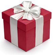 Cadeau rouge ruban blanc